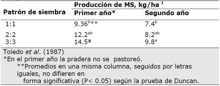 Producción de MS de plantas madres de S. capitata en tres patrones de siembra