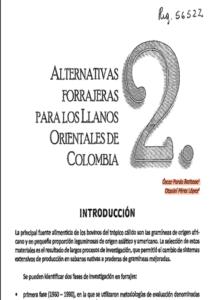 Alternativas Forrajeras Para Los Llanos Orientales De Colombia 2